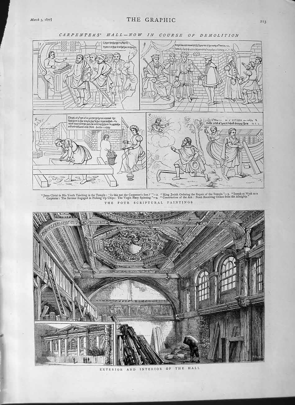 [Print 1877 Four Scriptural Paintings Carpenter'S Hall 213M115 Old Original]