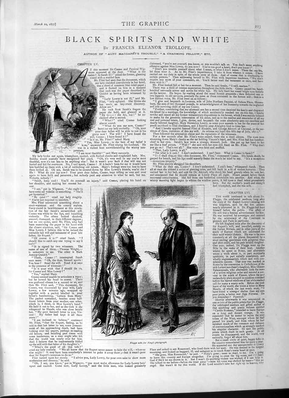 [Print 1877 Story Black Spirits White Flagge Nony Lady Man 225M115 Old Original]