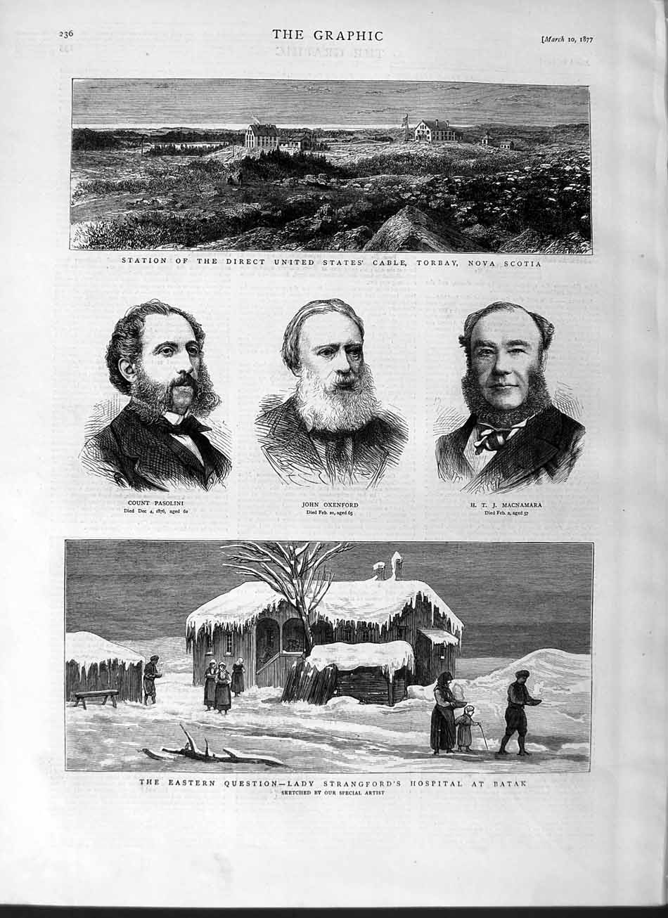 [Print 1877 Torbay Nova Scotia Strangford Hospital Batak Men 236M115 Old Original]