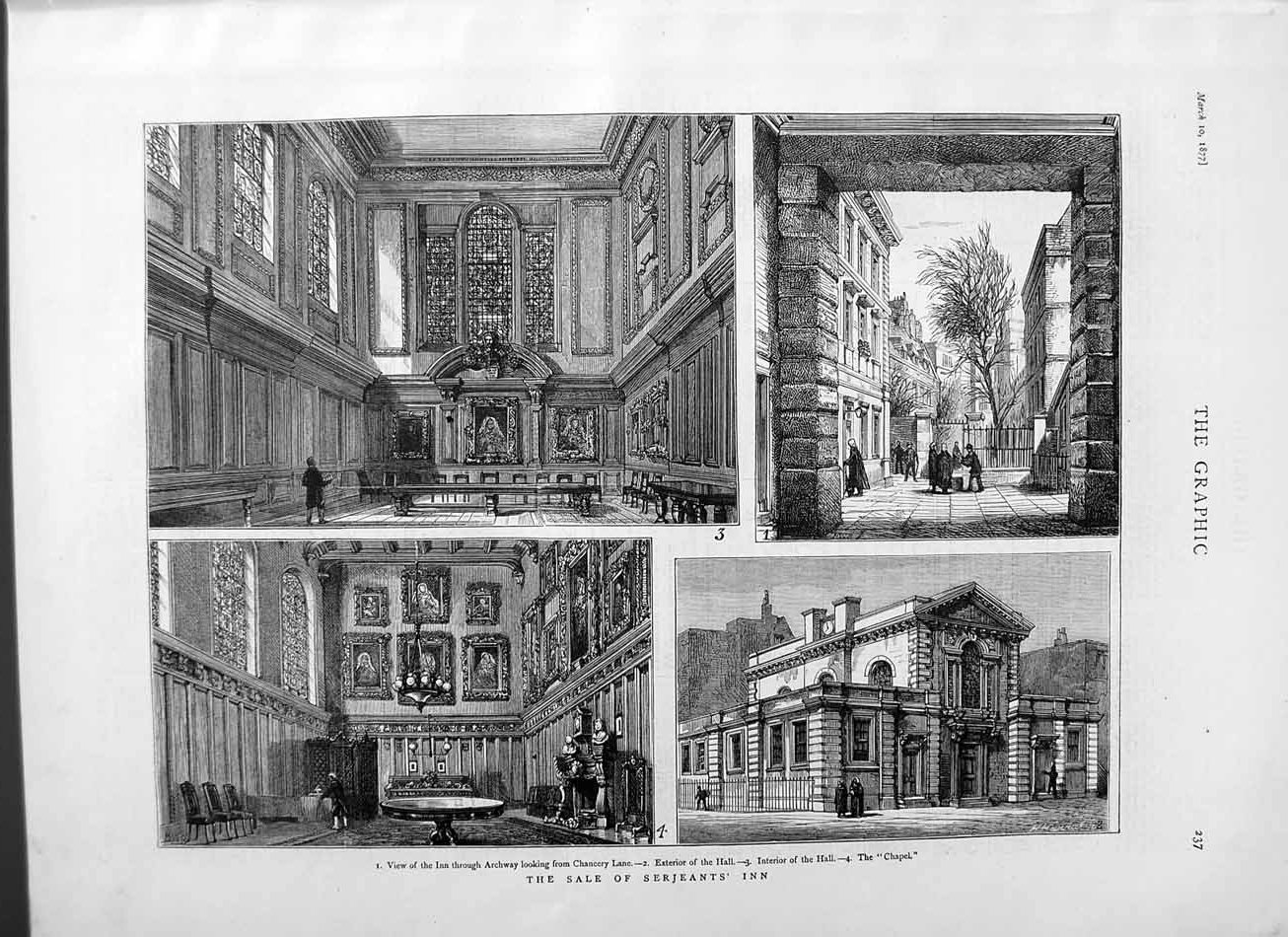 [Print 1877 Sale Serjeants Inn Chancery Lane Chapel Hall 237M115 Old Original]