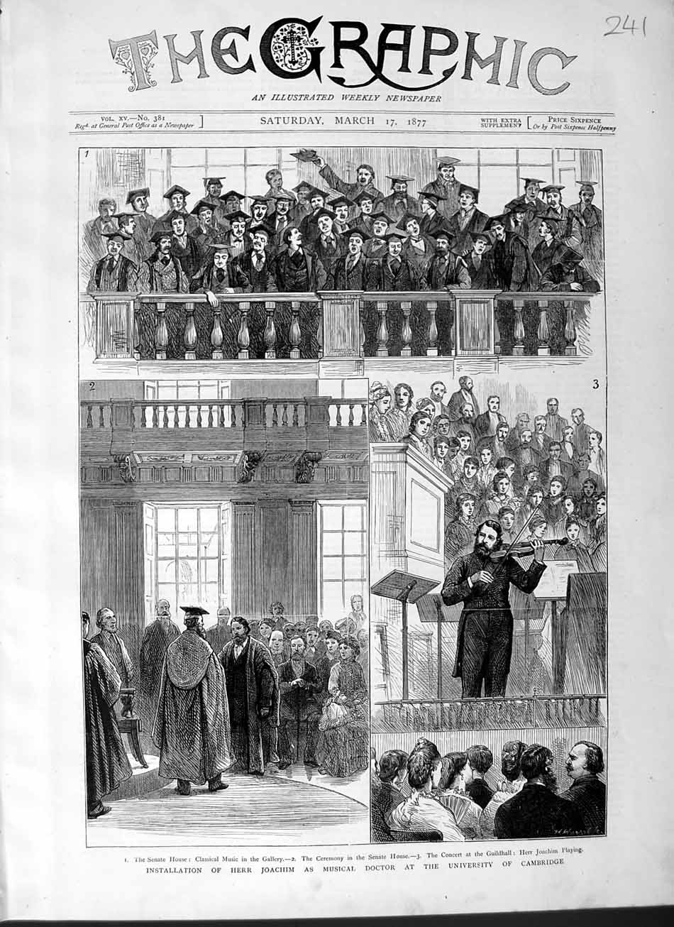 [Print 1877 Herr Joachim Musical Doctor University Cambridge 241M115 Old Original]