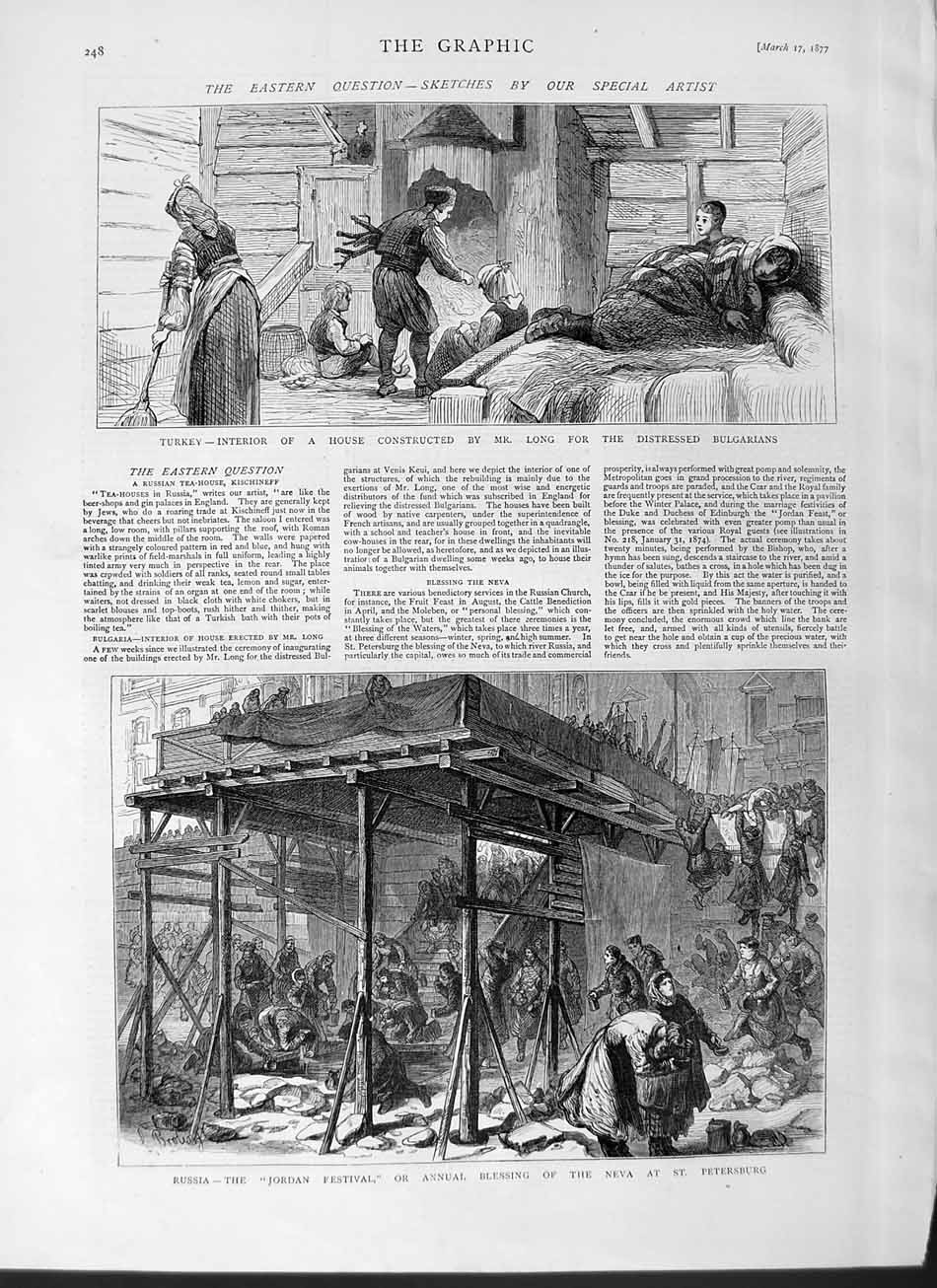 [Print 1877 Turkey House Long Russia Jordan Petersburg Neva 248M115 Old Original]