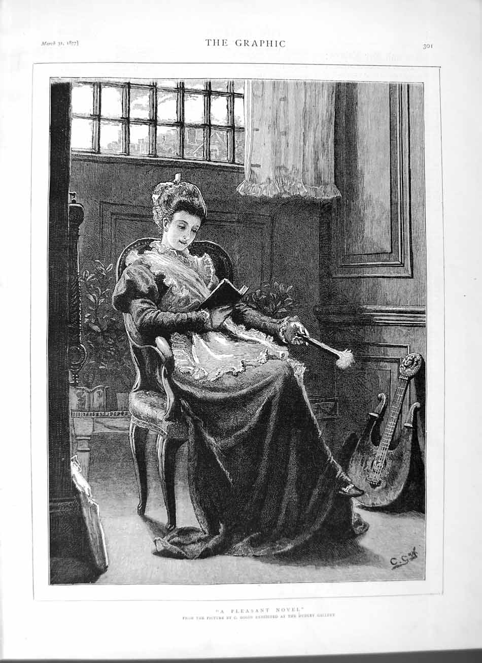 [Print 1877 Gogin Dudley Gallery Art Lady Reading Book 301M115 Old Original]