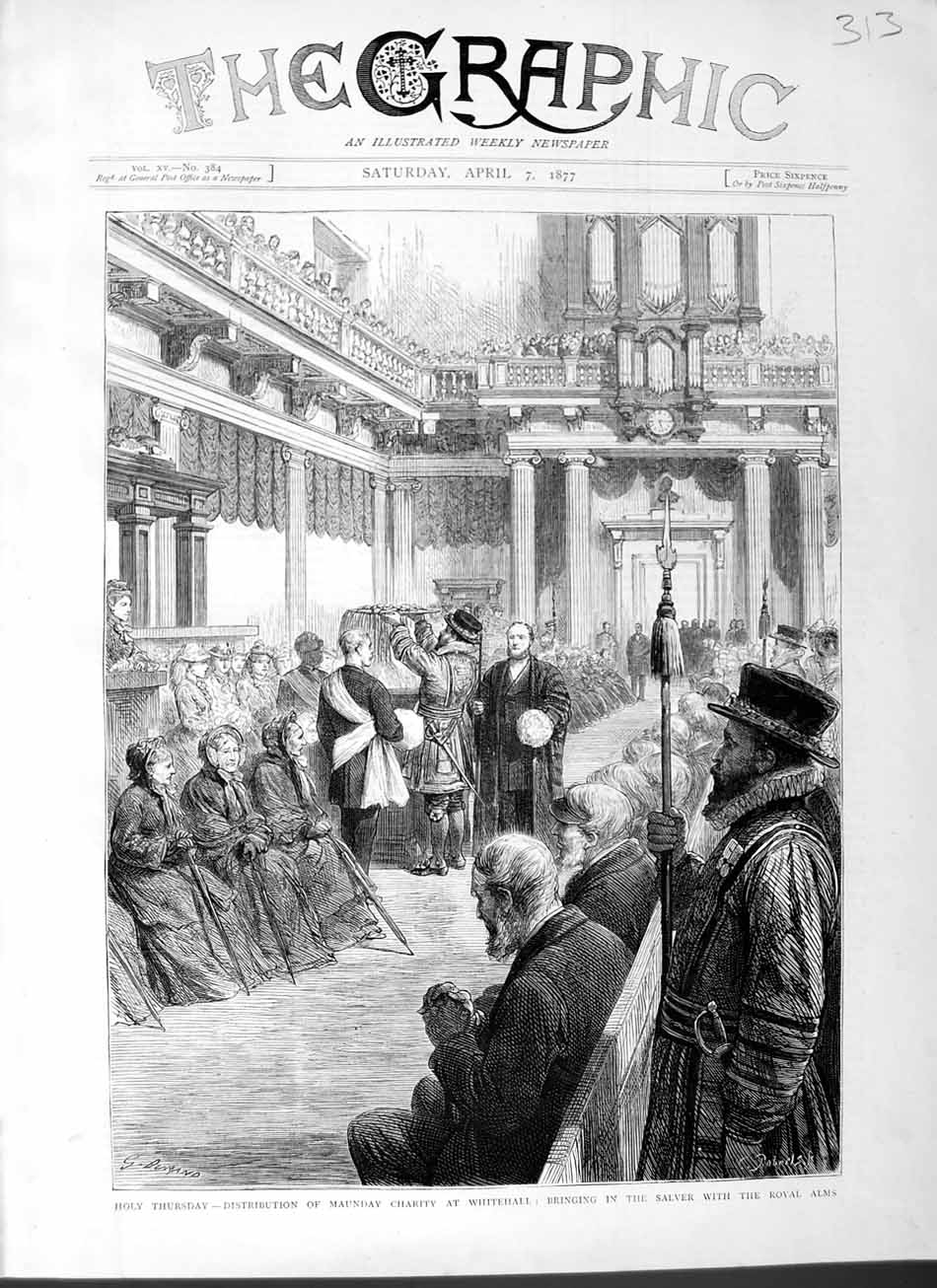 [Print 1877 Holy Thursday Maundy Charity Whitehall Royal Alms 313M115 Old Original]