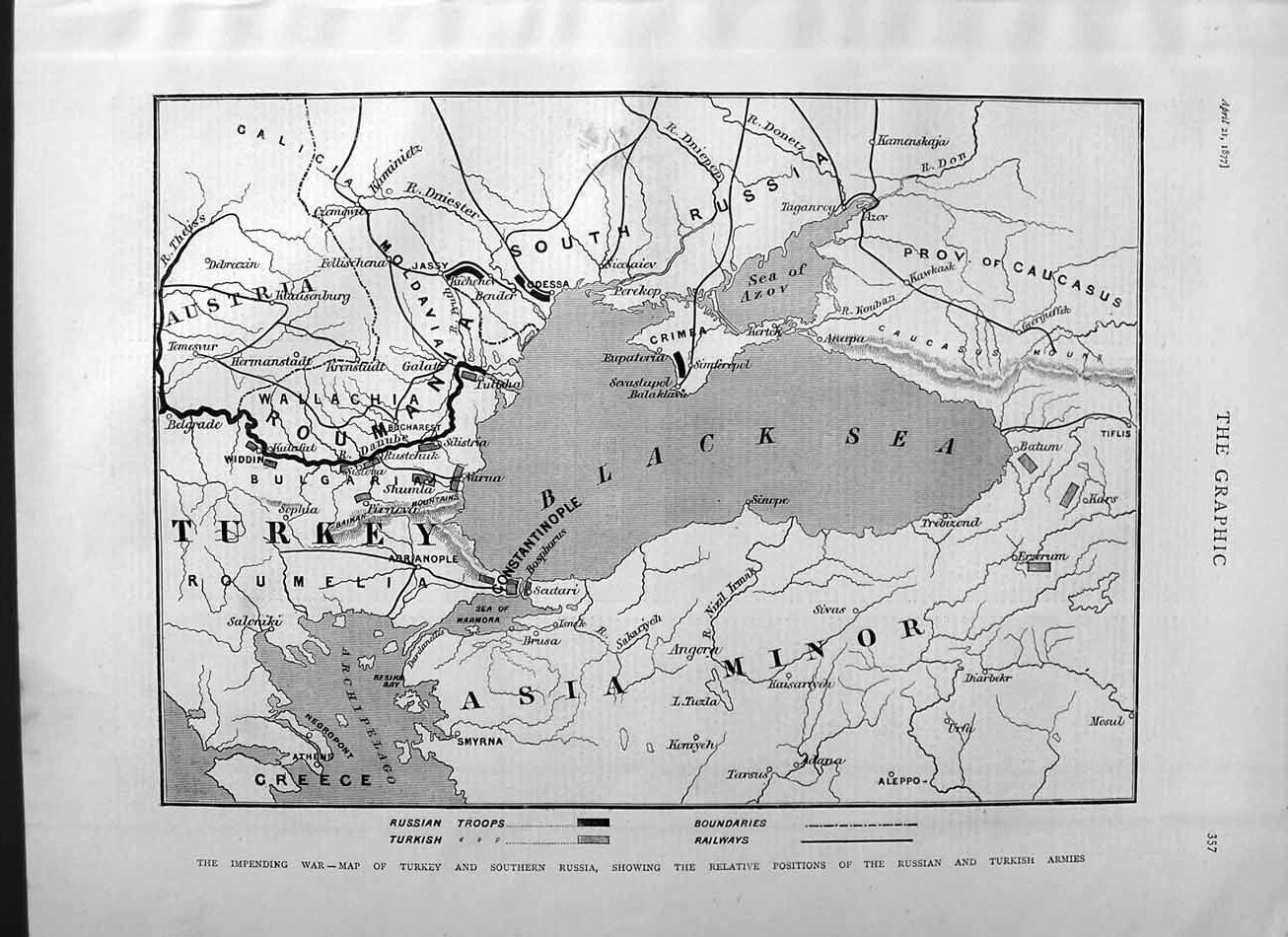 [Print 1877 War Map Turkey Russia Black Sea Asia Minor Azov 357M115 Old Original]