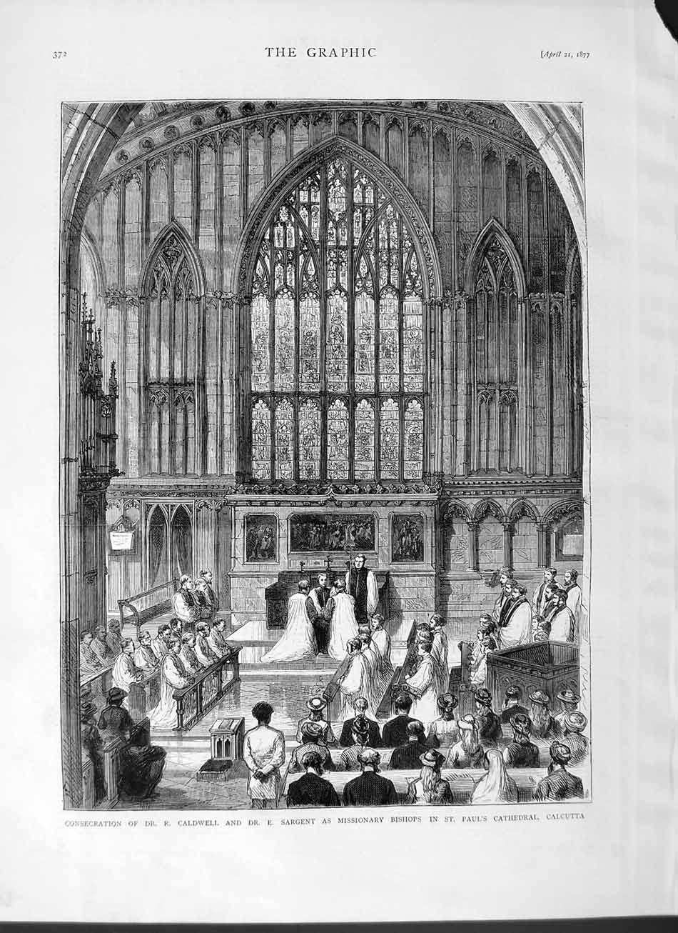 [Print 1877 Caldwell Sargent Bishops Paul'S Cathedral Calcutta 372M115 Old Original]
