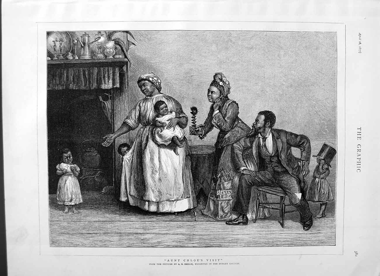 [Print 1877 Emslie Dudley Gallery Native Family Home Children 381M115 Old Original]
