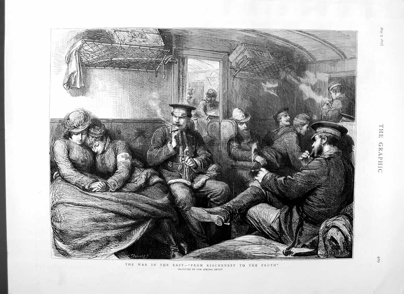 [Print 1877 War East Kischeneff Pruth Railway Train Passengers 409M115 Old Original]