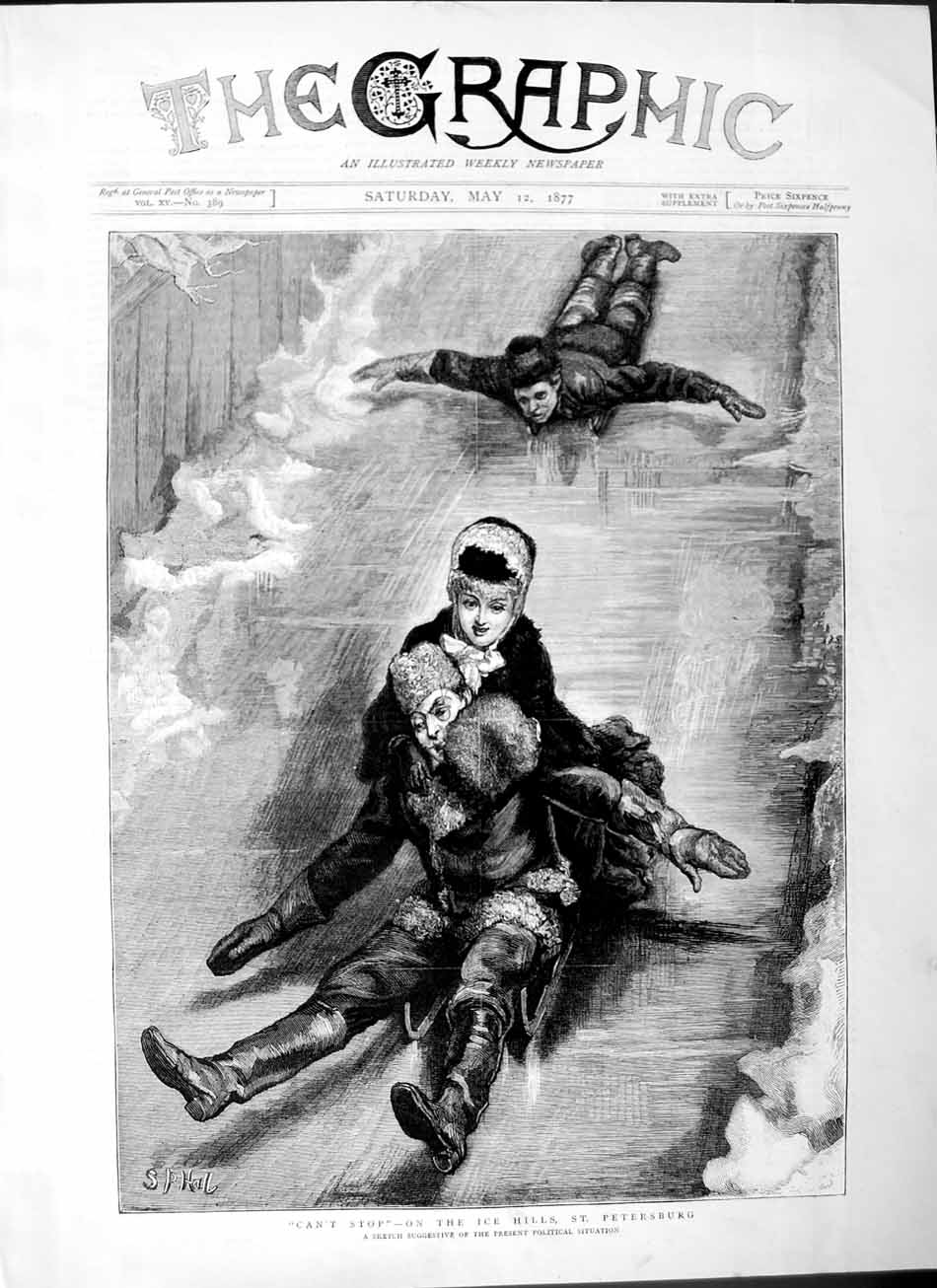 [Print 1877 Sledging Ice Hills St. Petersburg Man Woman Winter 437M115 Old Original]
