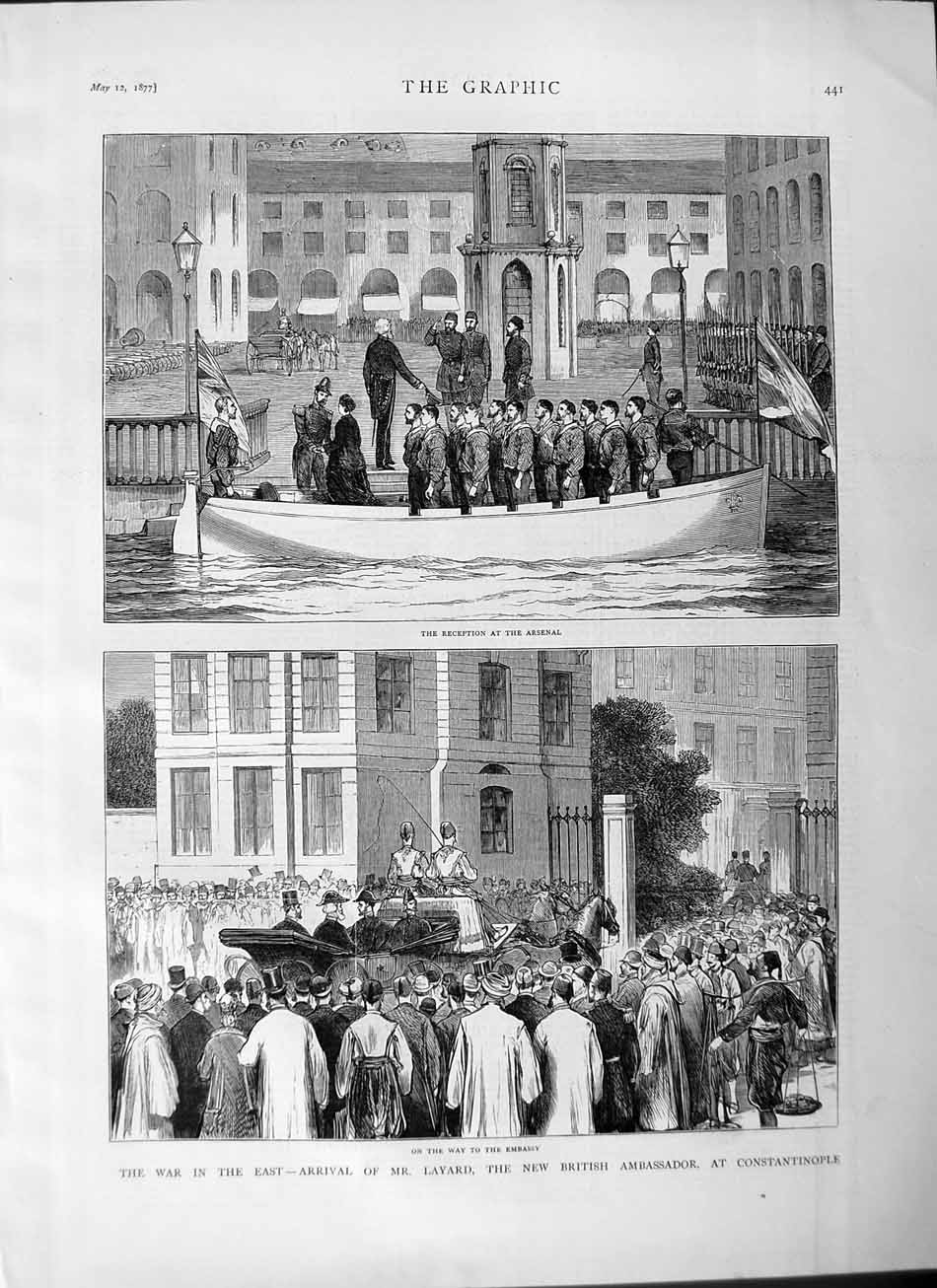 [Print 1877 Reception Arsenal War Layard Constantinople Army 441M115 Old Original]