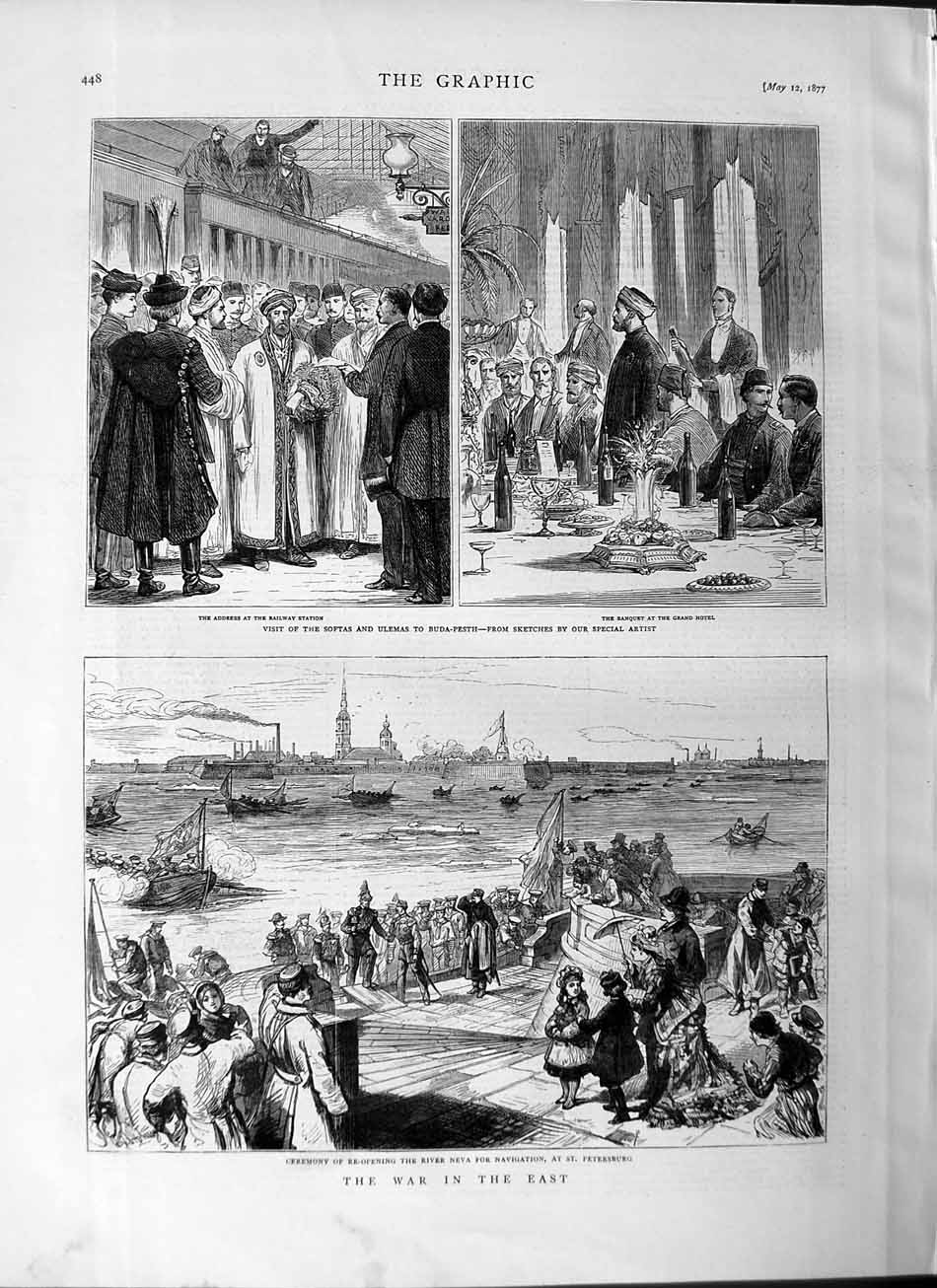 [Print 1877 War River Neva Petersburg Softas Ulemas Buda-Pesth 448M115 Old Original]