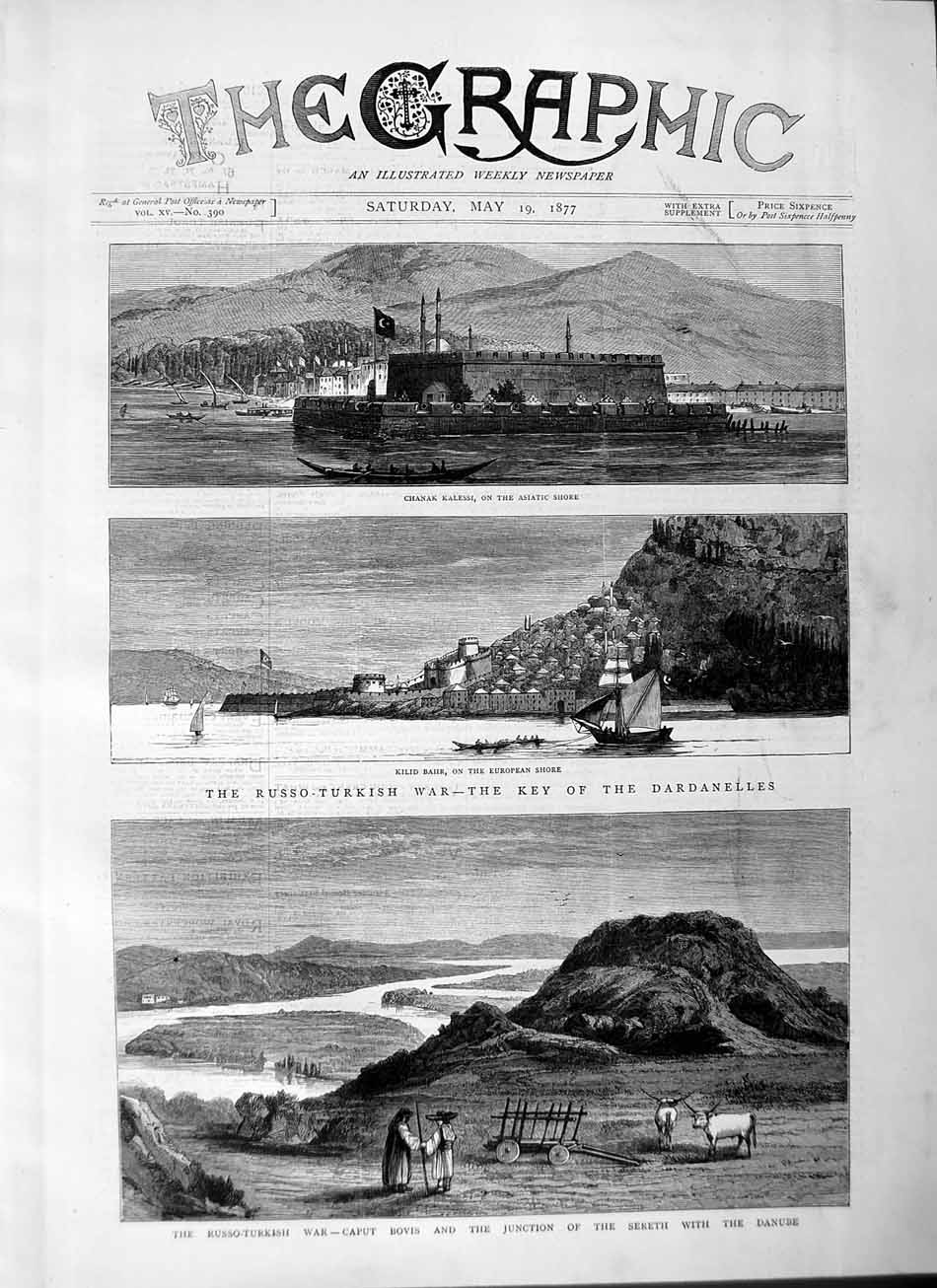 [Print 1877 Russo-Turkish War Dardanelles Chanak Kalessi Bovis 461M115 Old Original]