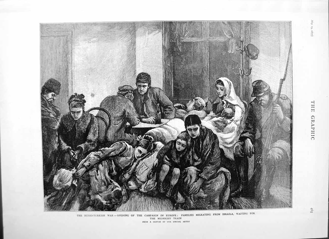 [Print 1877 Russo-Turkish War Families Migrating Imbraila Art 465M115 Old Original]