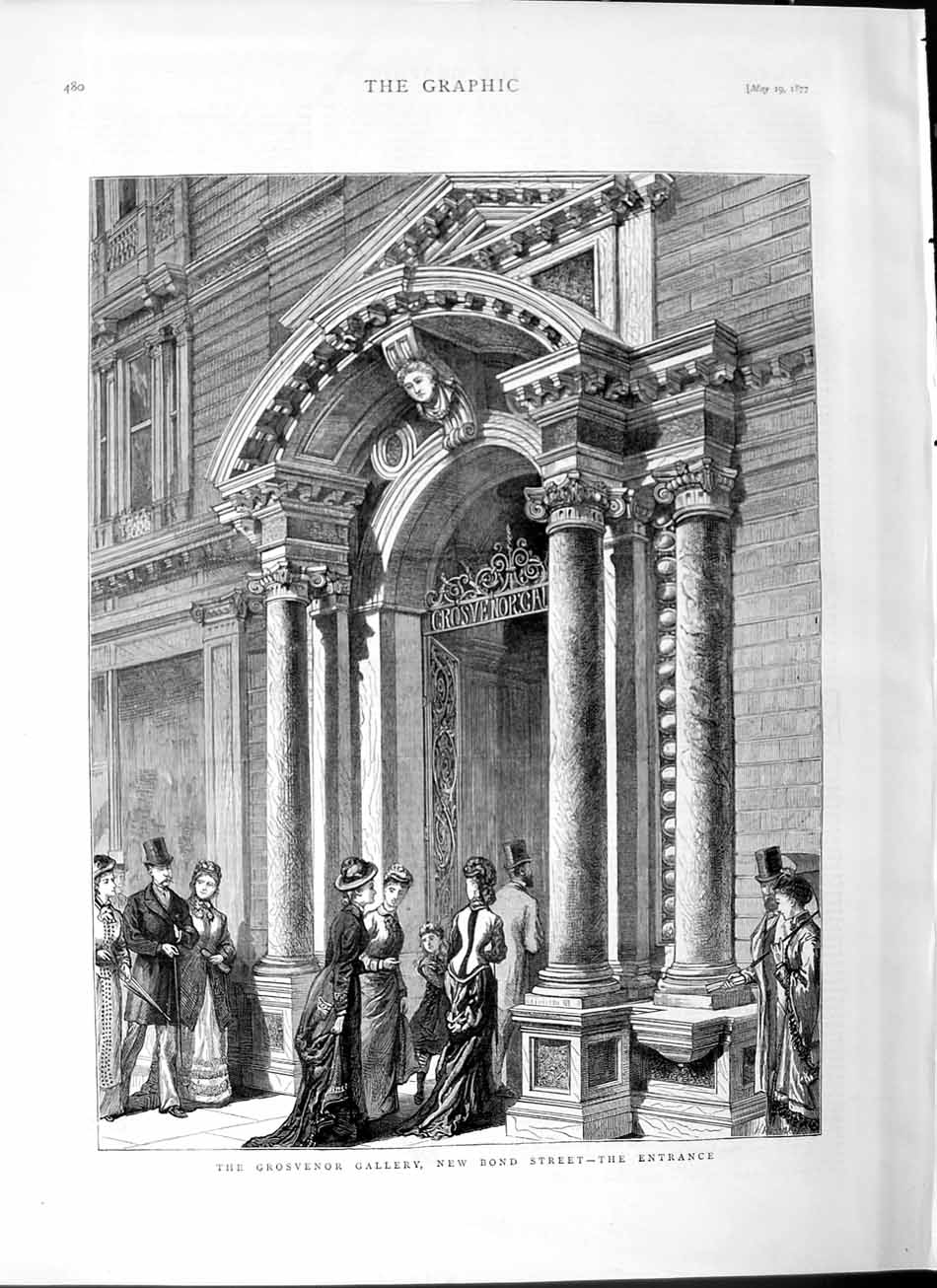 [Print 1877 Grosvenor Gallery New Bond Street London Art 480M115 Old Original]
