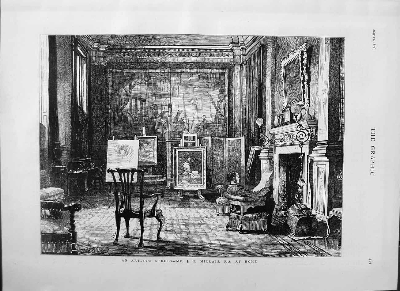 [Print 1877 Artist Studio Mr. Millais Home Paintings Fine Art 481M115 Old Original]