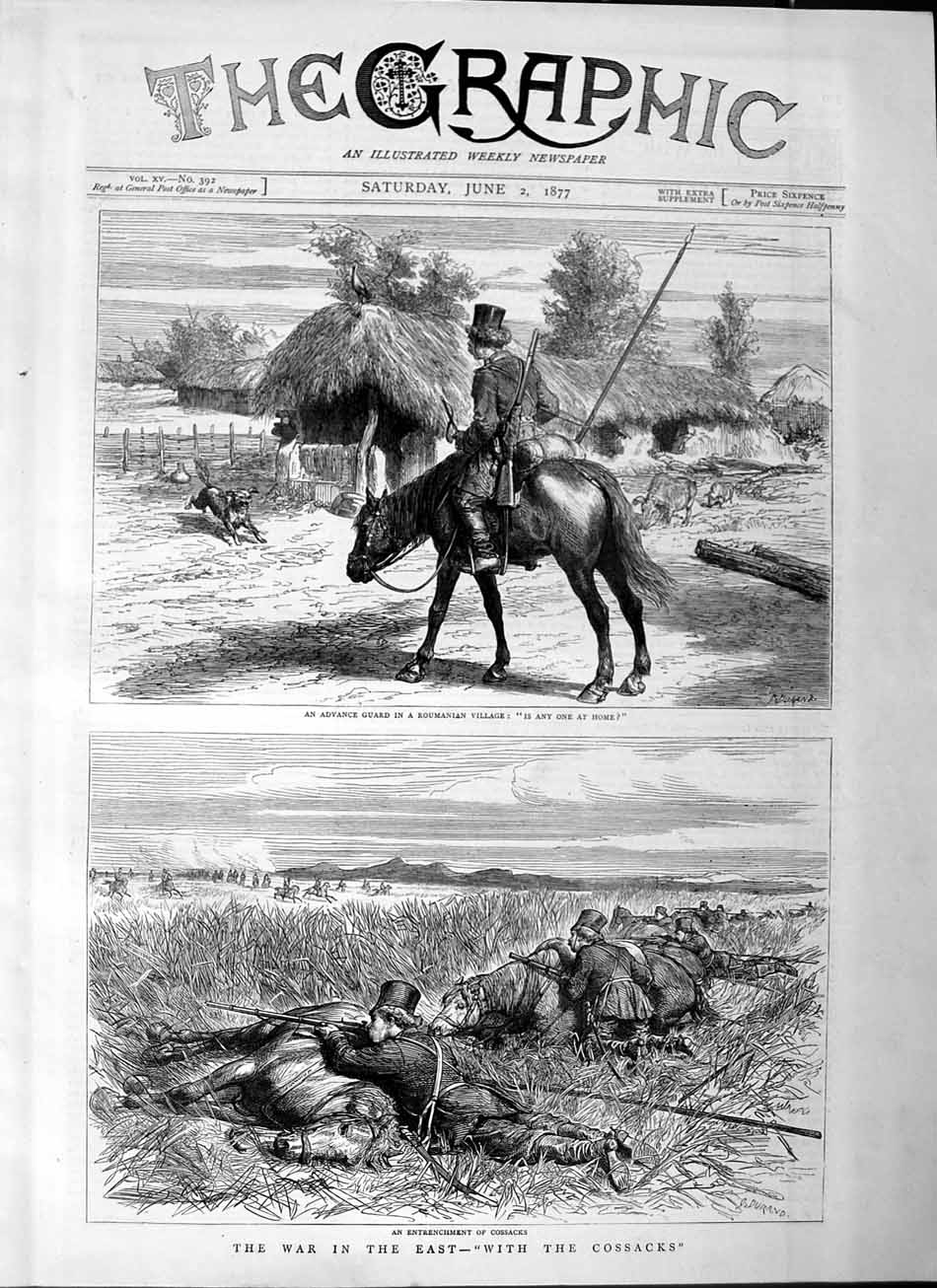 [Print 1877 War East Cossacks Soldiers Roumanian Village Army 509M115 Old Original]