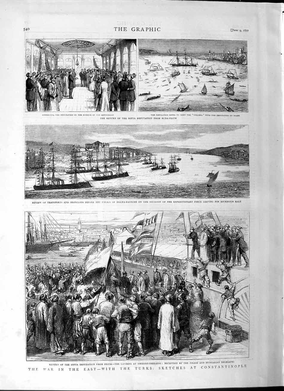 [Print 1877 War Constantinople Softa Ships Dolm-Bagtche Army 540M115 Old Original]