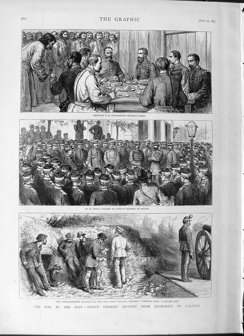 [Print 1877 War Prince Charles Bucharest Kalafat Potova Army 560M115 Old Original]