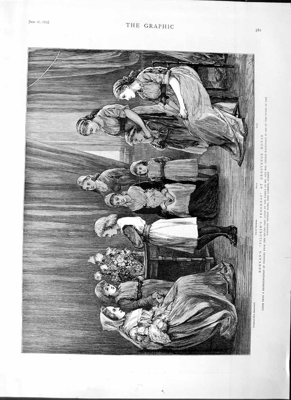 [Print 1877 Bunyan Pilgrims Progress Grosvenor House Theatre 561M115 Old Original]