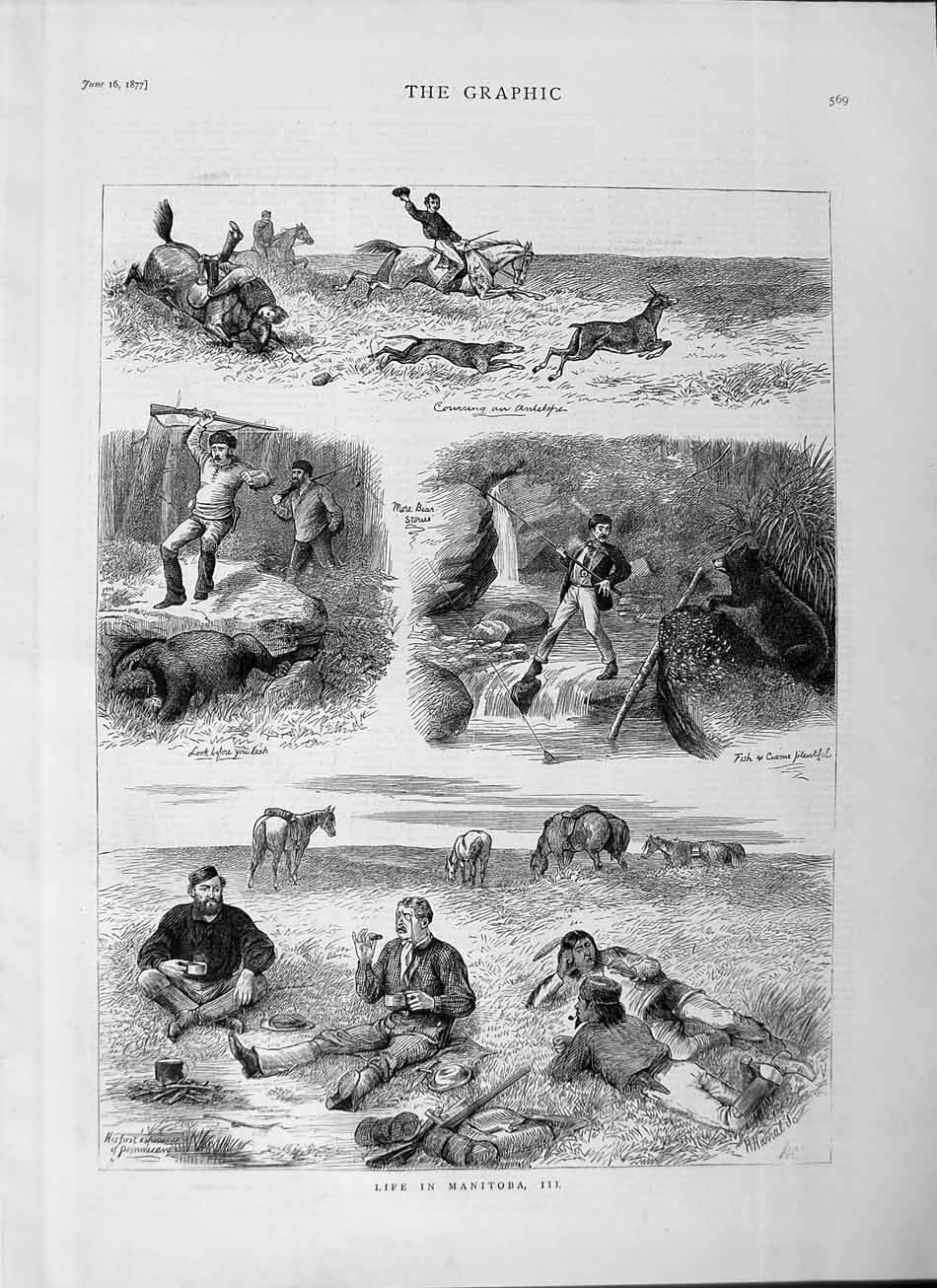 [Print 1877 Life Manitoba Sport Hunting Fishing Horses River 569M115 Old Original]