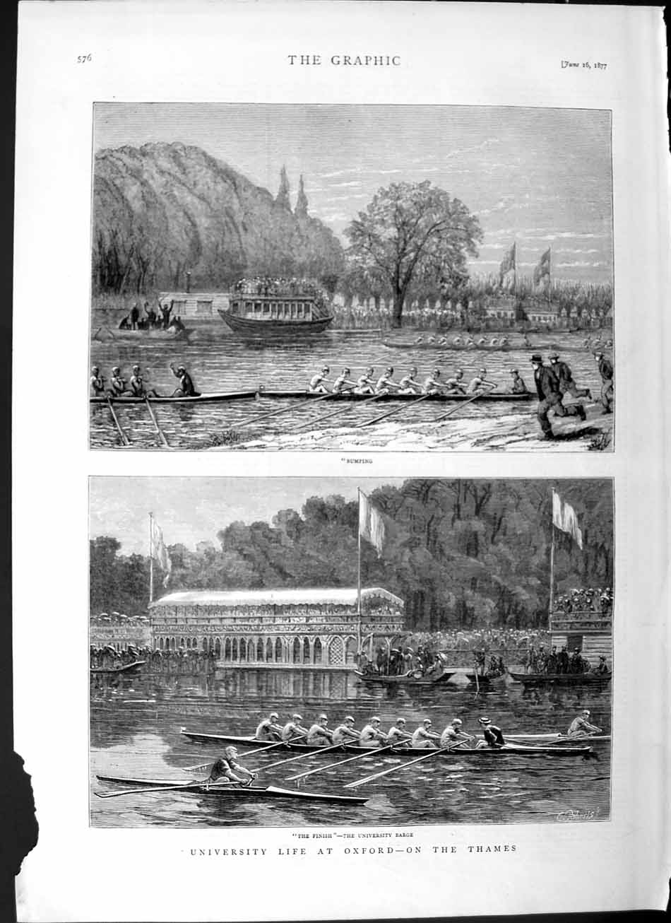 [Print 1877 University Life Oxford Cambridge Boat Race River 576M115 Old Original]