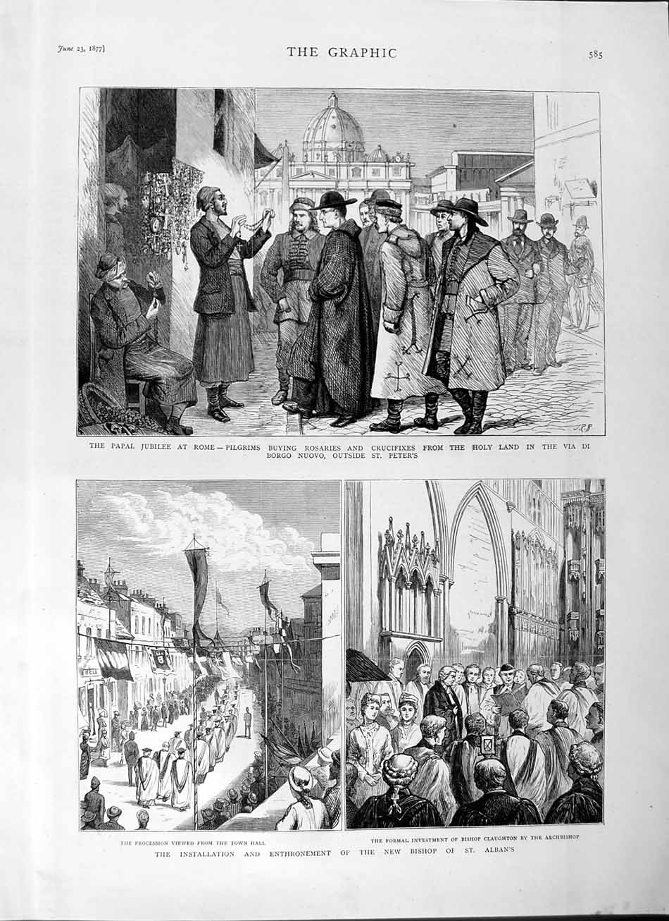 [Print 1877 Papal Jubilee Rome Pilgrim Bishop Claughton Albans 585M115 Old Original]