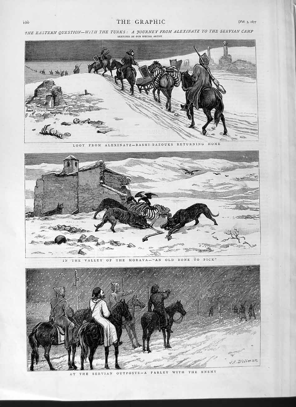 [Print 1877 Turks Army Servian Camp Bashi-Bazouks Morava War  Old Original]