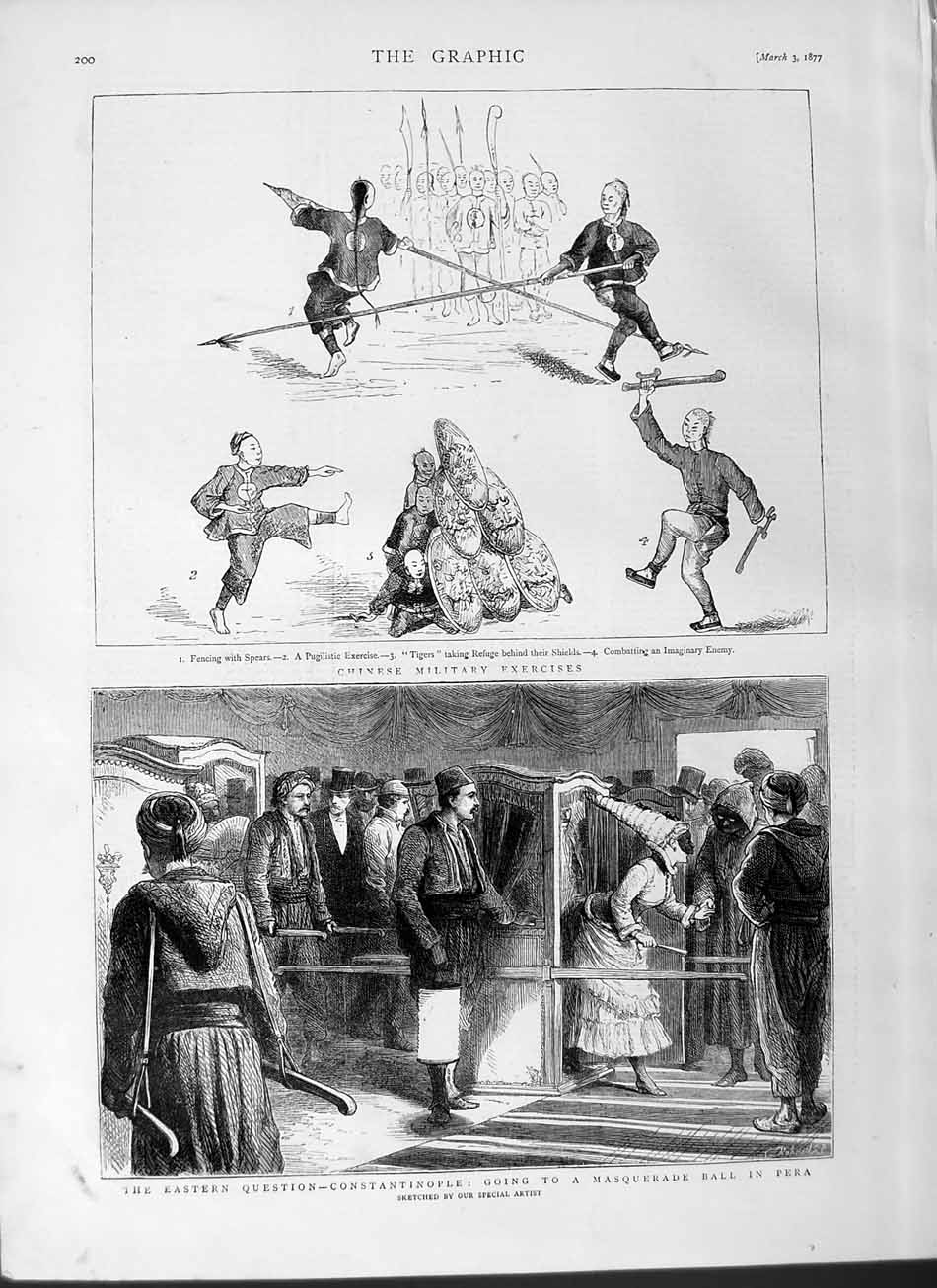 [Print 1877 Chinese Military Exercise Constantinople Ball Pera  Old Original]