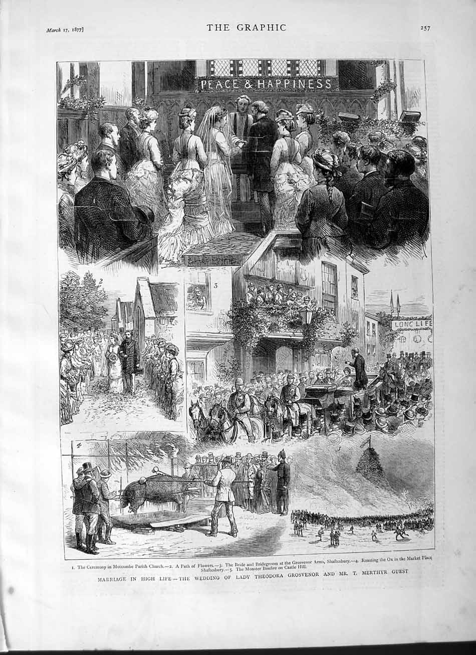 [Print 1877 Marriage Wedding Lady Theodora Grosvenor Merthyr Old Original]