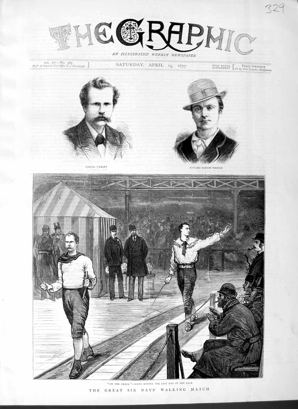 [Print 1877 Walking Match Men Sport O'Leary Edward Weston  Old Original]