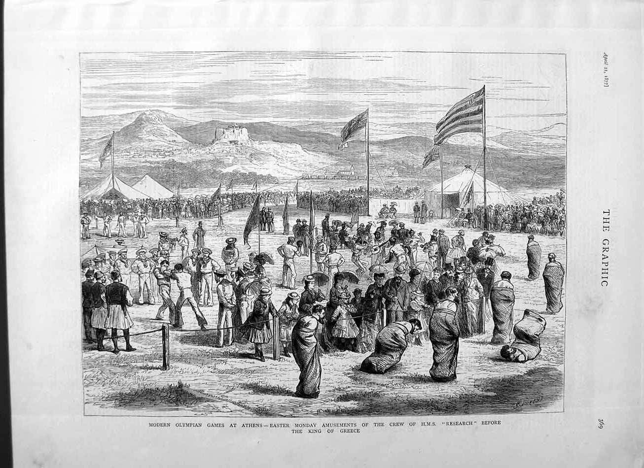 Print 1877 Olympian Games Athens King Greece Crew Research  Old Original