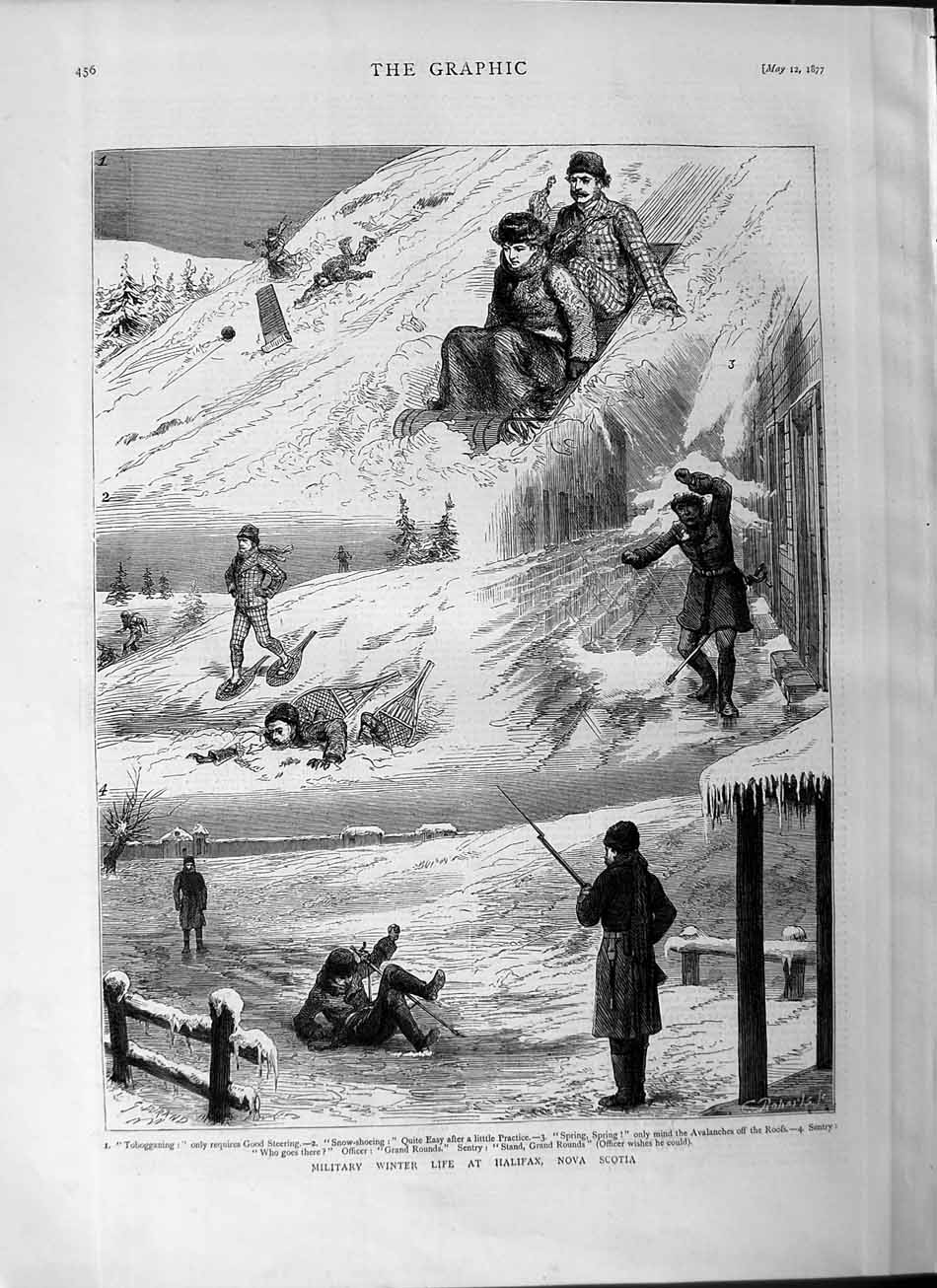 Print 1877 Military Life Halifax Nova Scotia Tobogganing Snow  Old Original