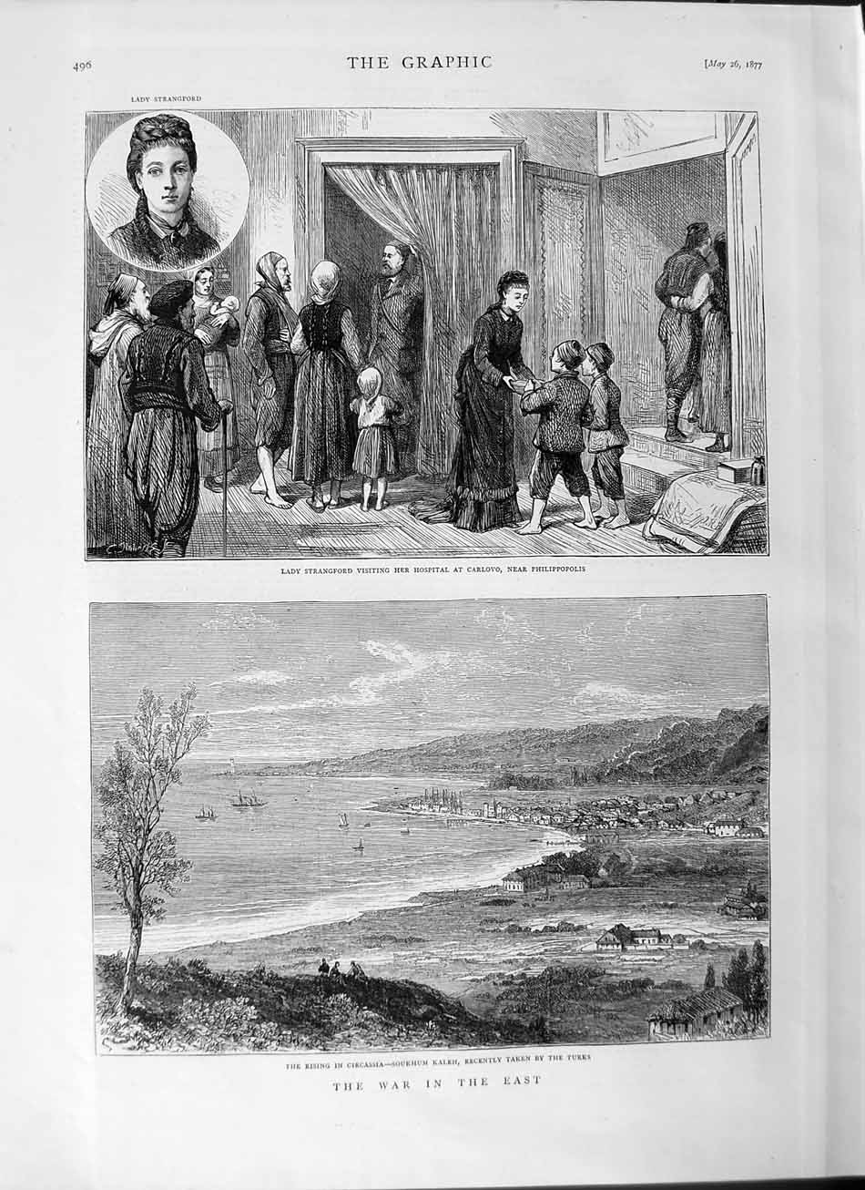 [Print 1877 War Lady Strangford Hospital Carlovo Circassia Old Original]