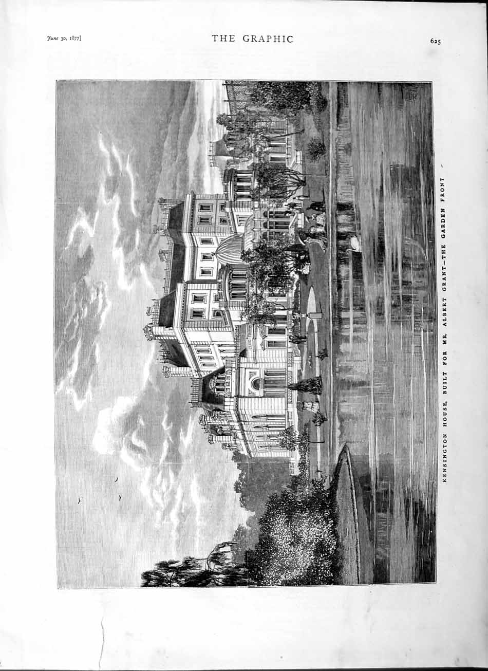 [Print 1877 Kensington House Albert Grant Garden Lake 625M115  Old Original]