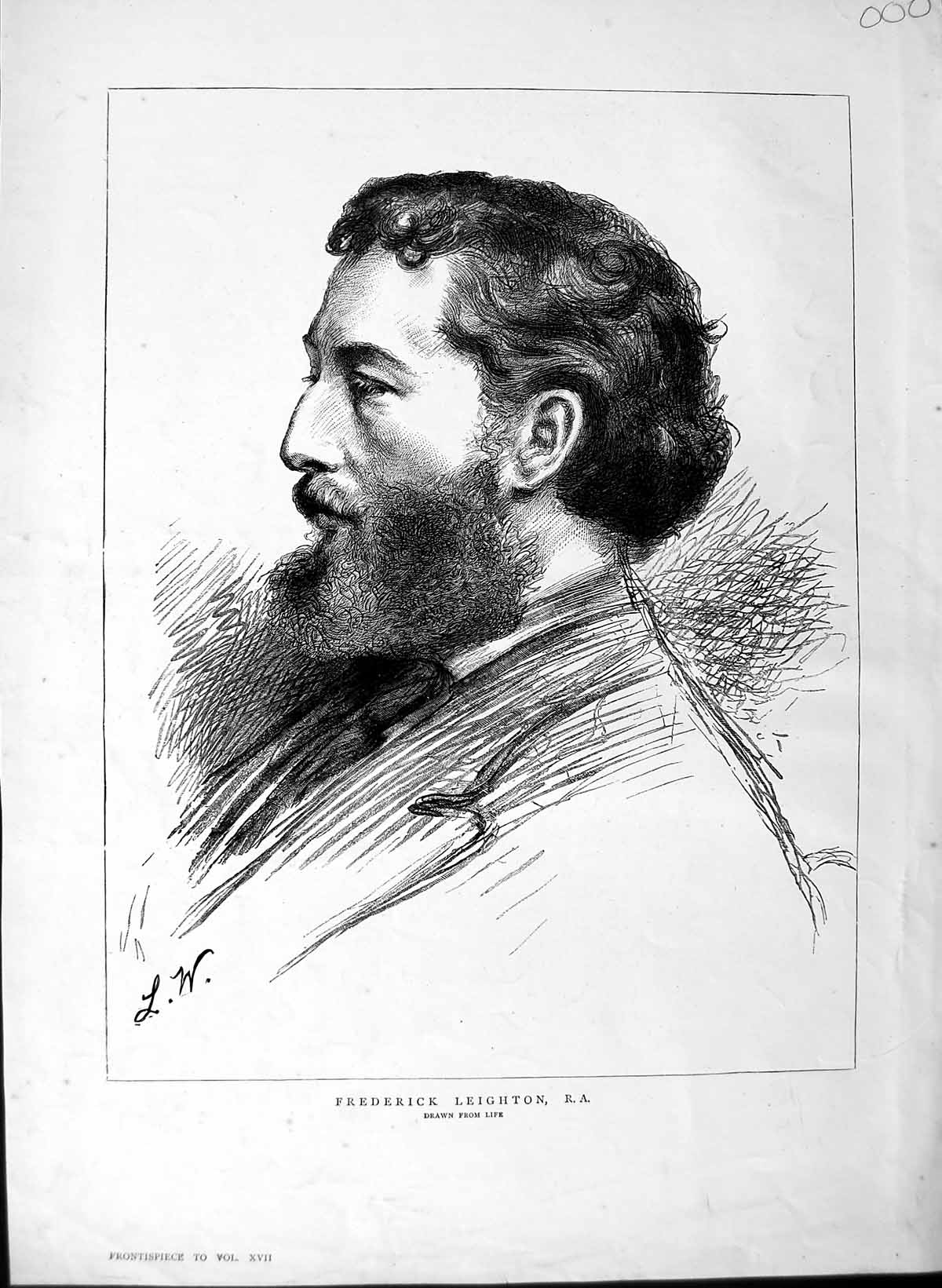 [Print 1877 Portrait Frederick Leighton Man 000M116 Old Original]