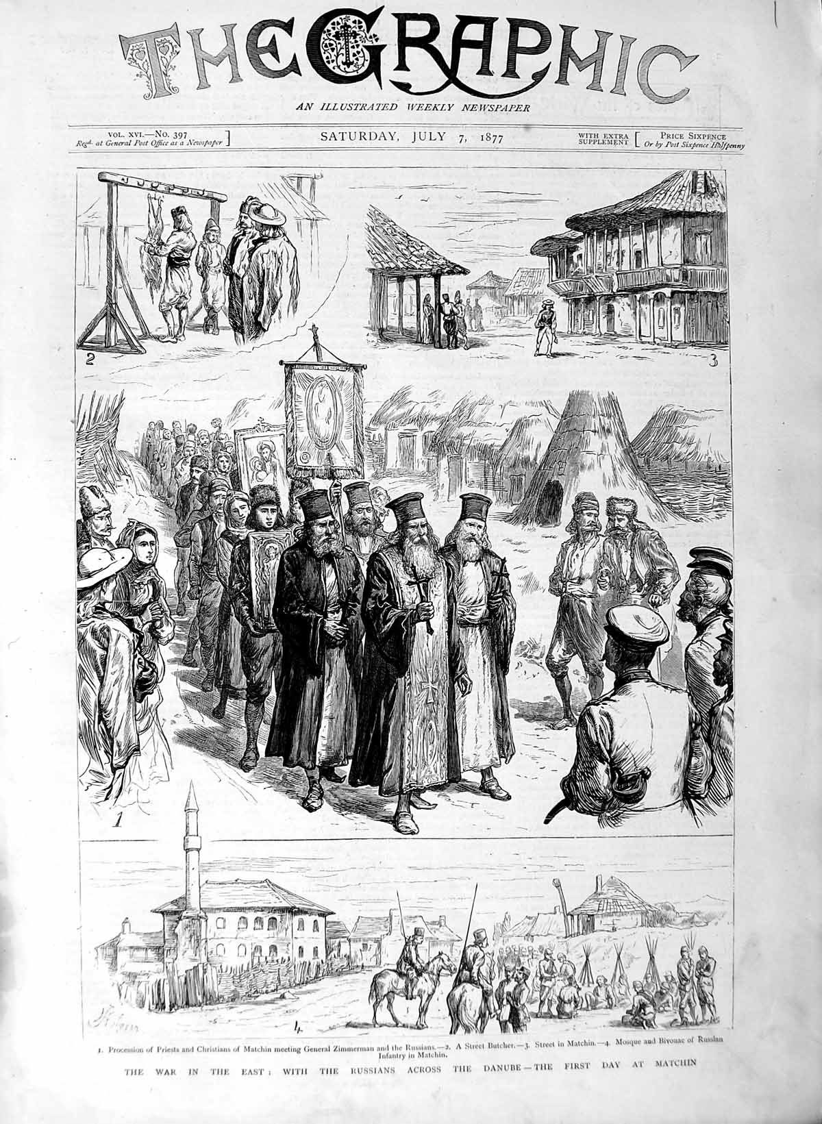 [Print 1877 War Russian Soldiers Danube River Matchin Mosque 001M116 Old Original]