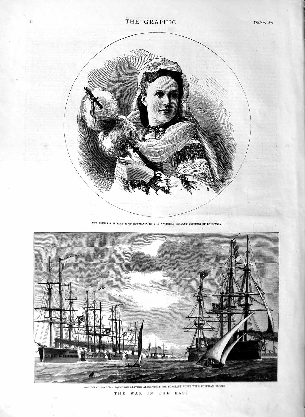 [Print 1877 Turko-Egyptian Ships War Troops Princess Roumania 004M116 Old Original]