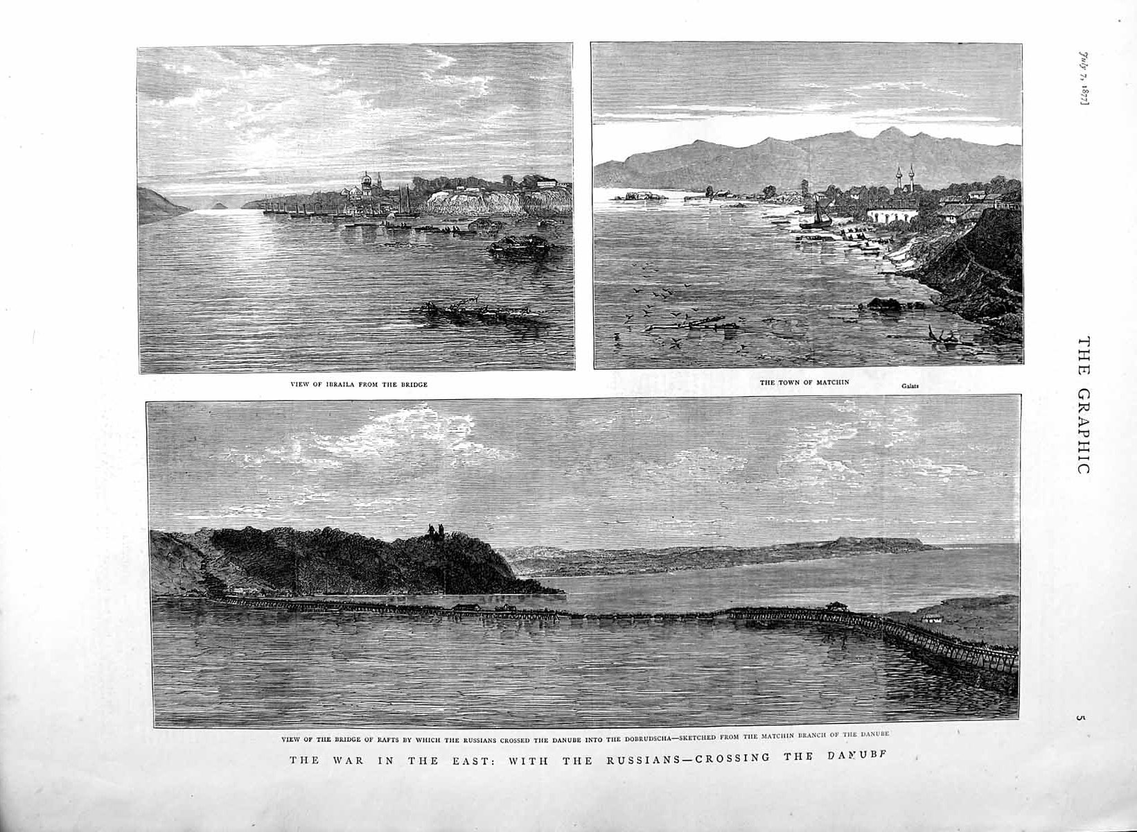 [Print 1877 War Russians Danube River Dobrudscha Matchin 005M116 Old Original]
