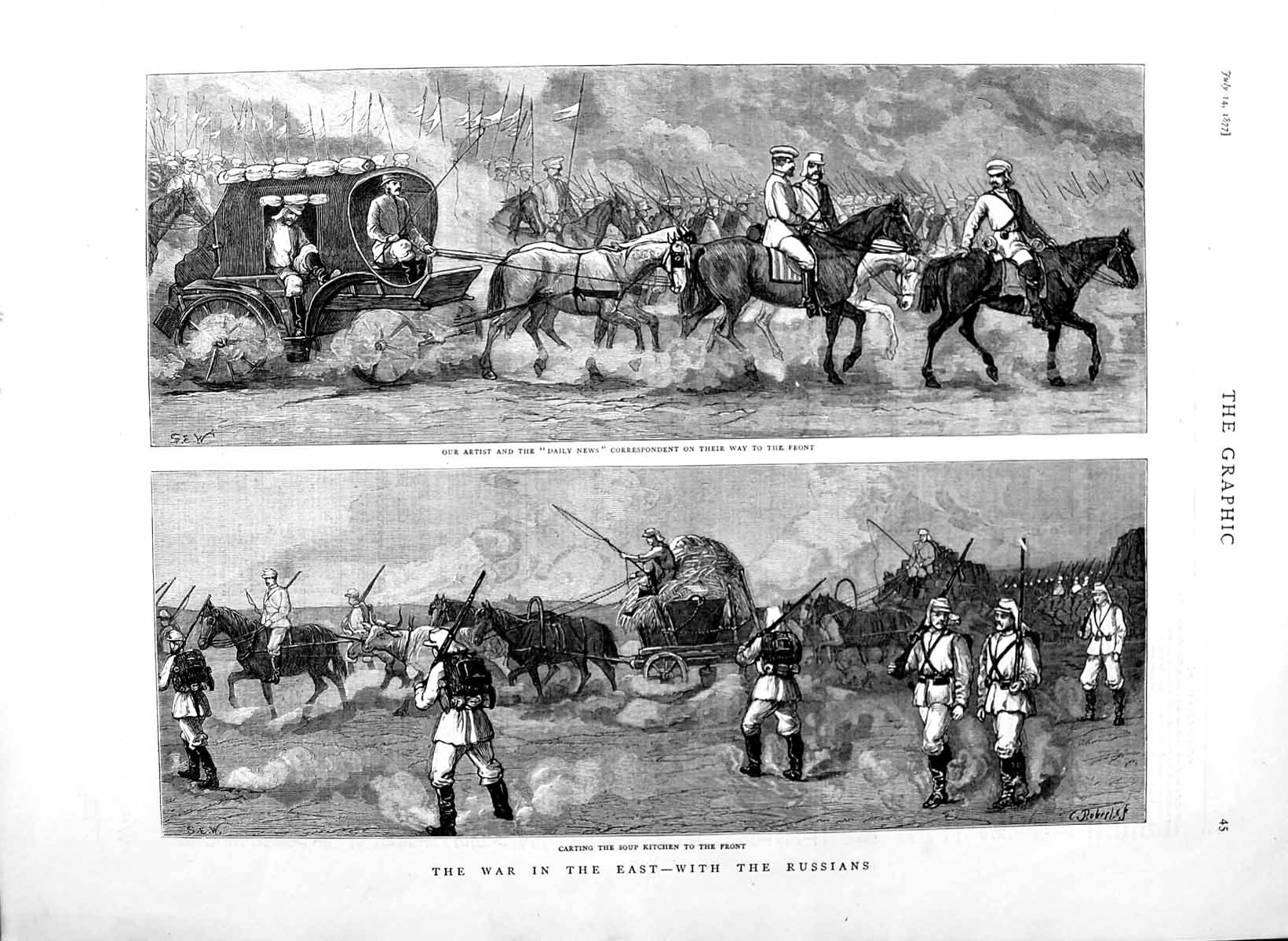[Print 1877 War Russian Soldiers Daily News Corespondent Horse 045M116 Old Original]