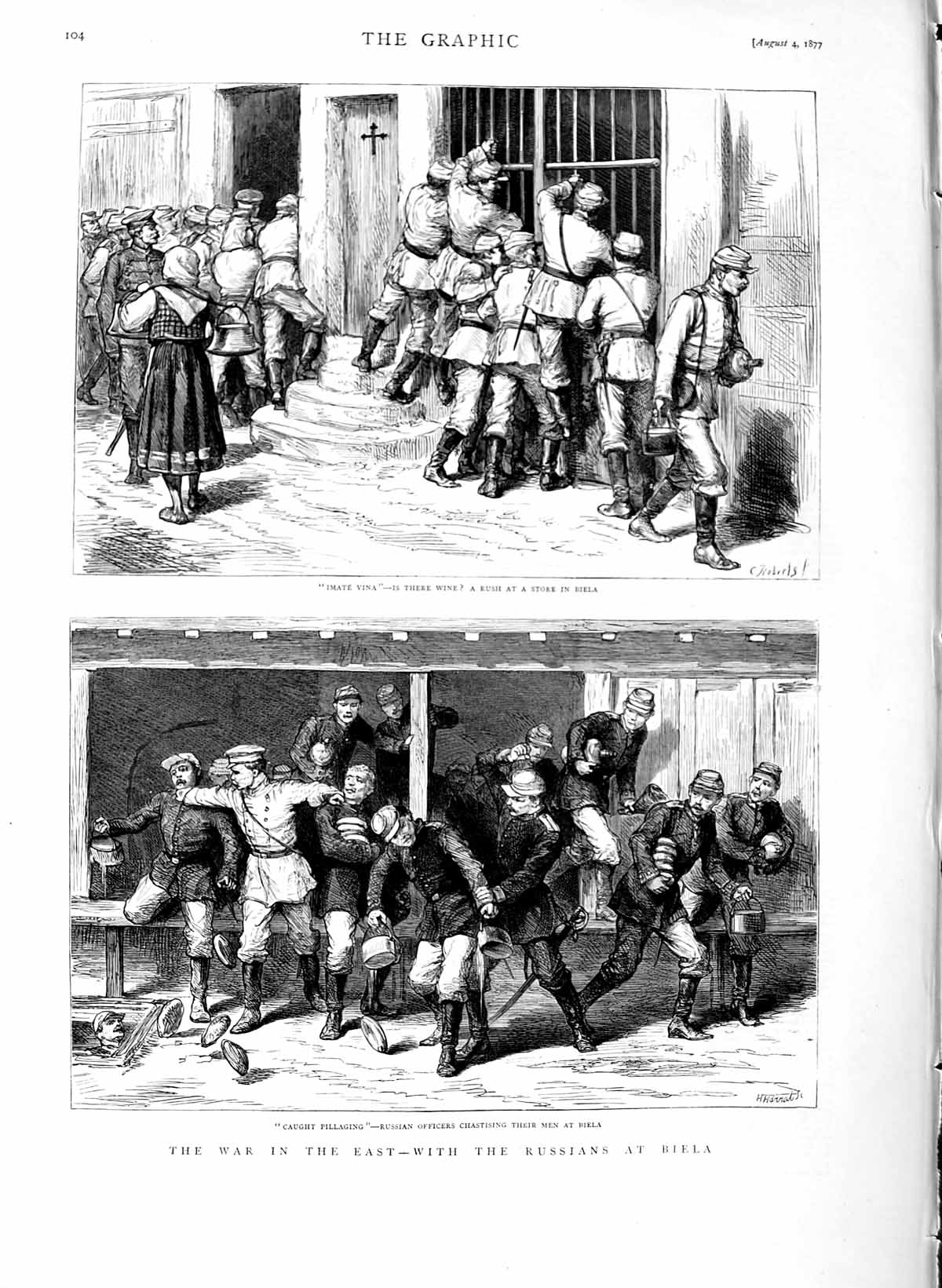 [Print 1877 War Russian Soldiers Biela Shop Officers Pillaging 104M116 Old Original]