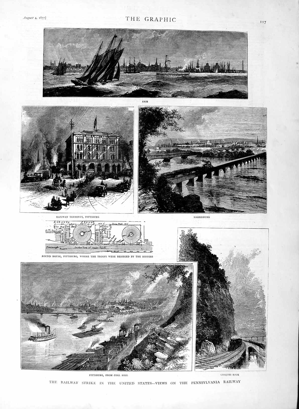 [Print 1877 Pittsburg Railway Strike Chiques Erte Pennsylvania 117M116 Old Original]