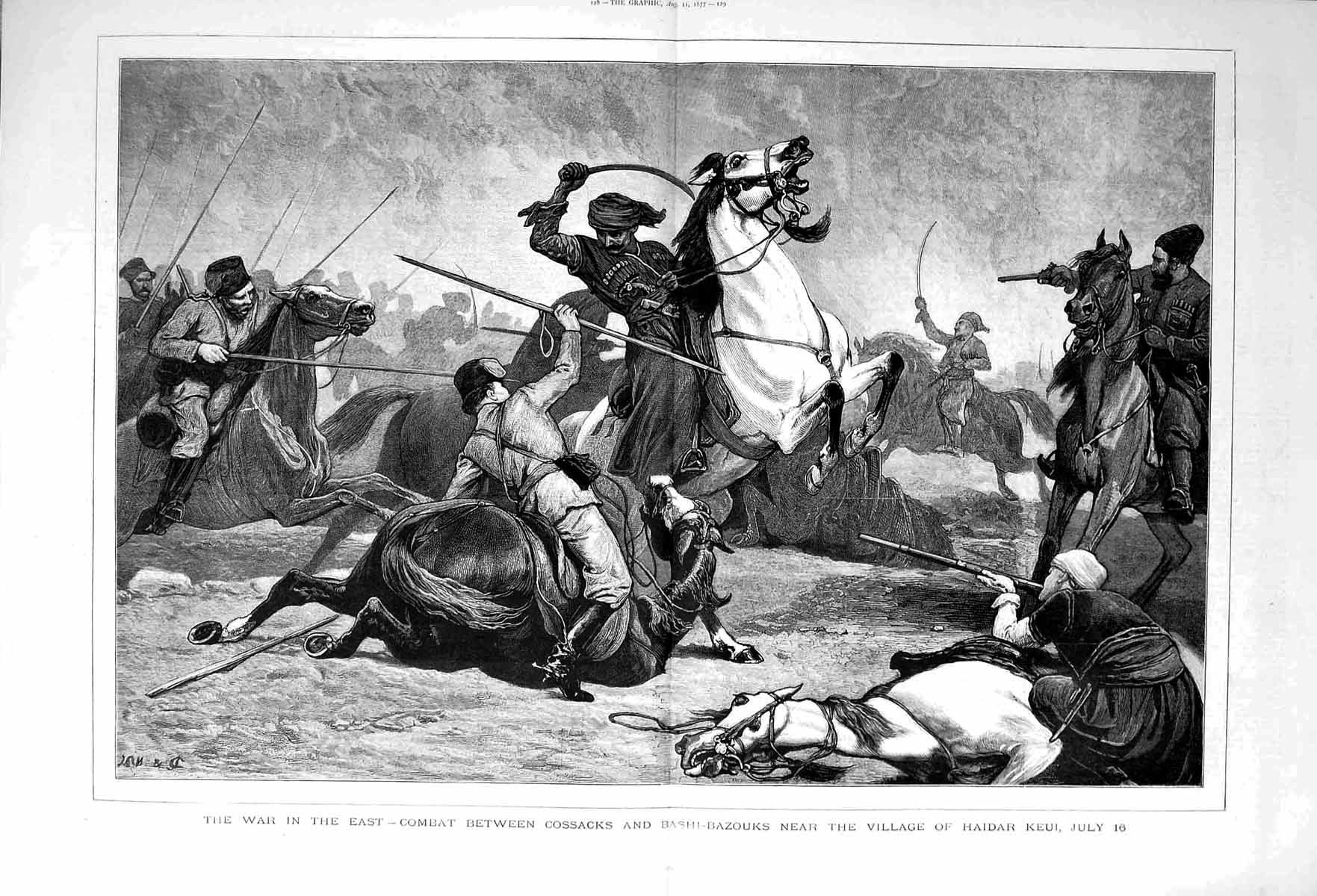 [Print 1877 War Battle Cossacks Bashi-Bazouks Haidar Keui 127Tm116 Old Original]