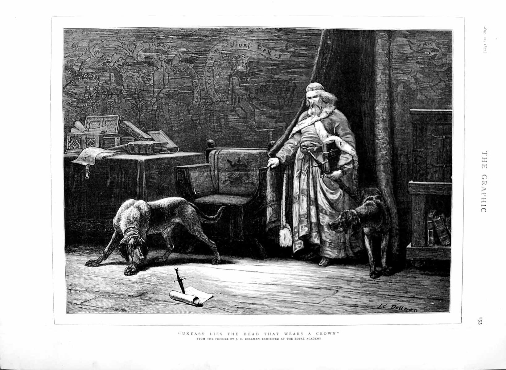 [Print 1877 Dollman Fine Art Man Sword Dagger Dogs Books Chair 133M116 Old Original]