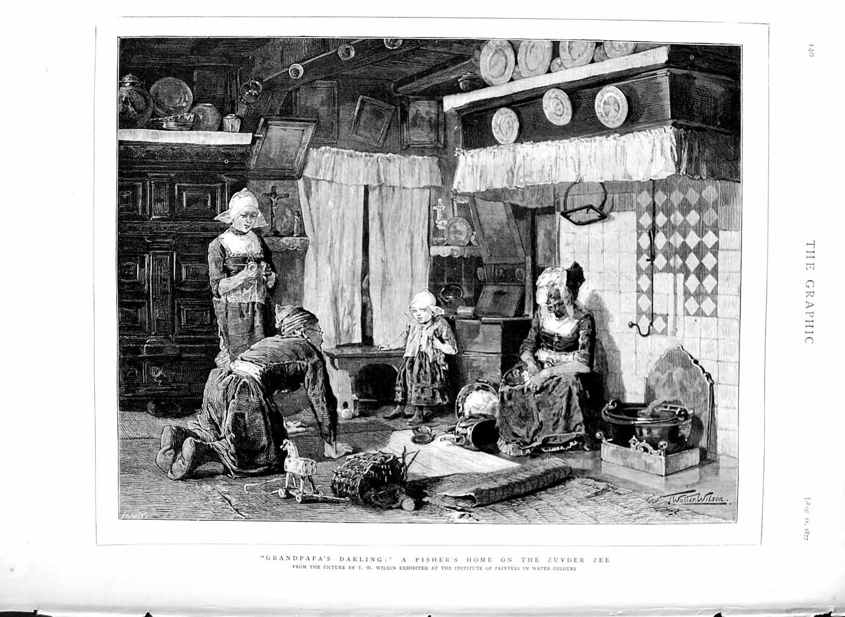 [Print 1877 Fisher'S Home Zuyder Zee Little Girl Grandad 140M116 Old Original]