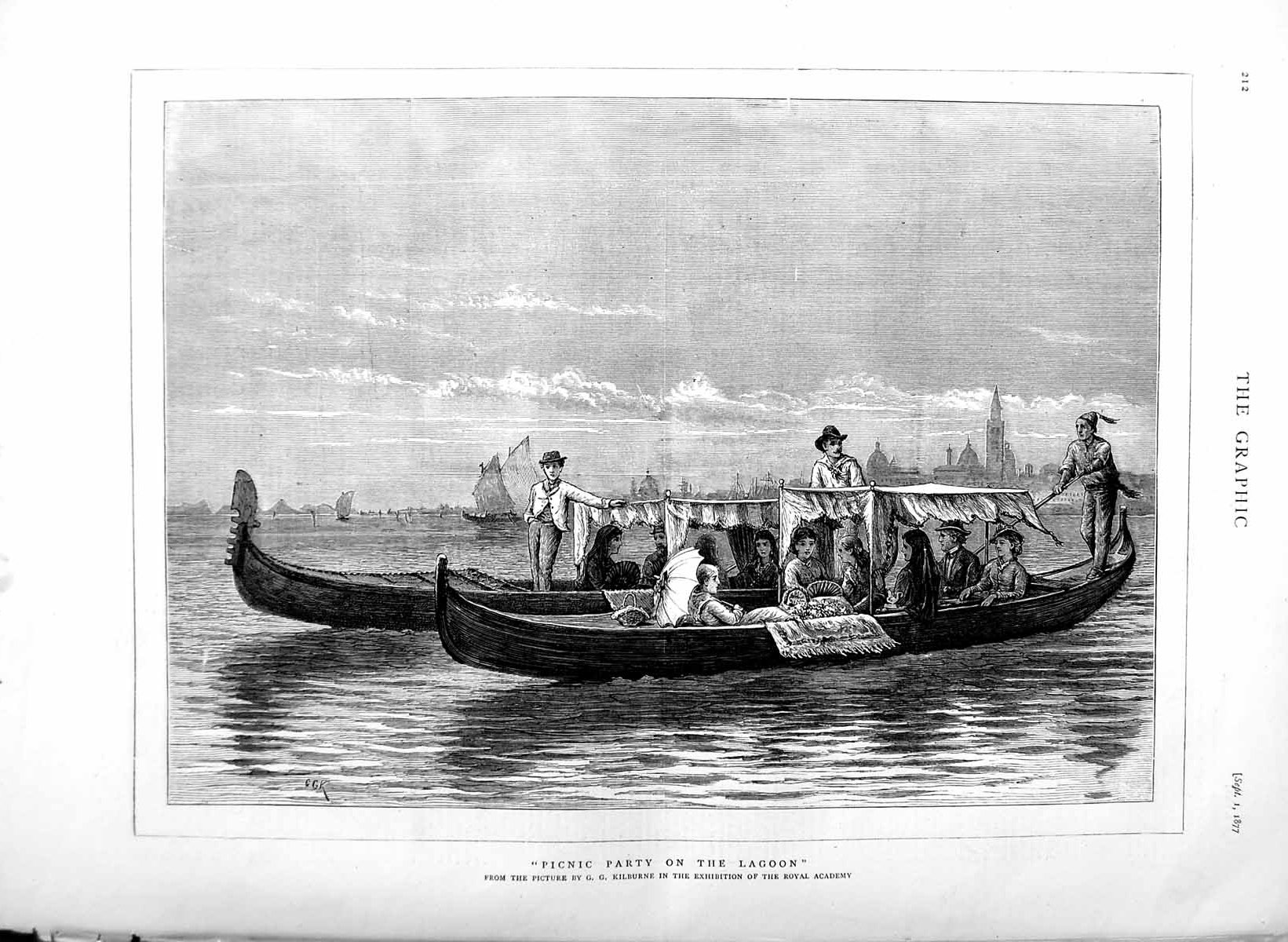 [Print 1877 Picnic Party Lagoon River Boat Passengers 212M116 Old Original]