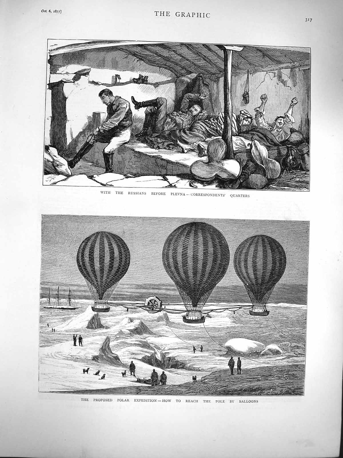 [Print 1877 Russian Soldiers Plevna Polar Expedition Balloons 317M116 Old Original]
