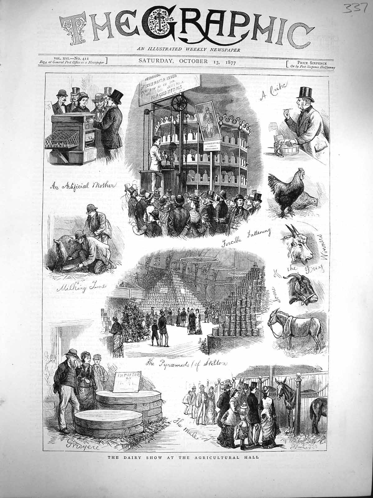 [Print 1877 Dairy Show Agricultural Hall Chicken Goat Horses 337M116 Old Original]