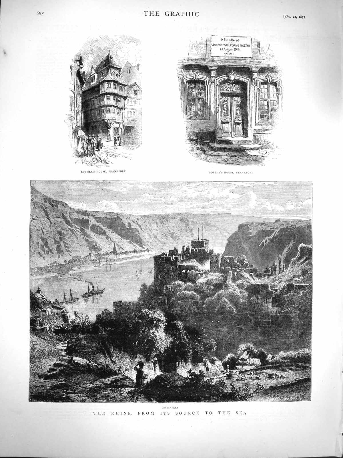 [Print 1877 Rhine Rheinfels Luther House Frankfort Goethe 592M116 Old Original]