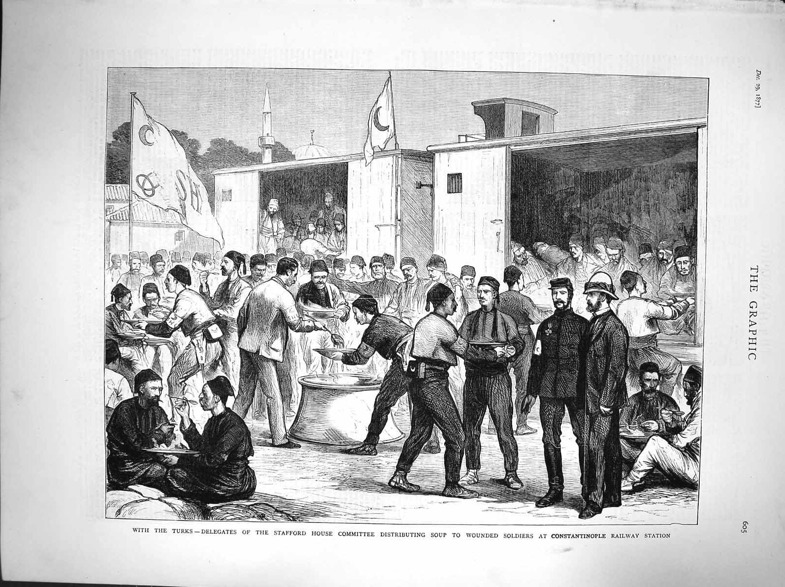 [Print 1877 Turkish Men Stafford House Soldiers Constantinople 605M116 Old Original]