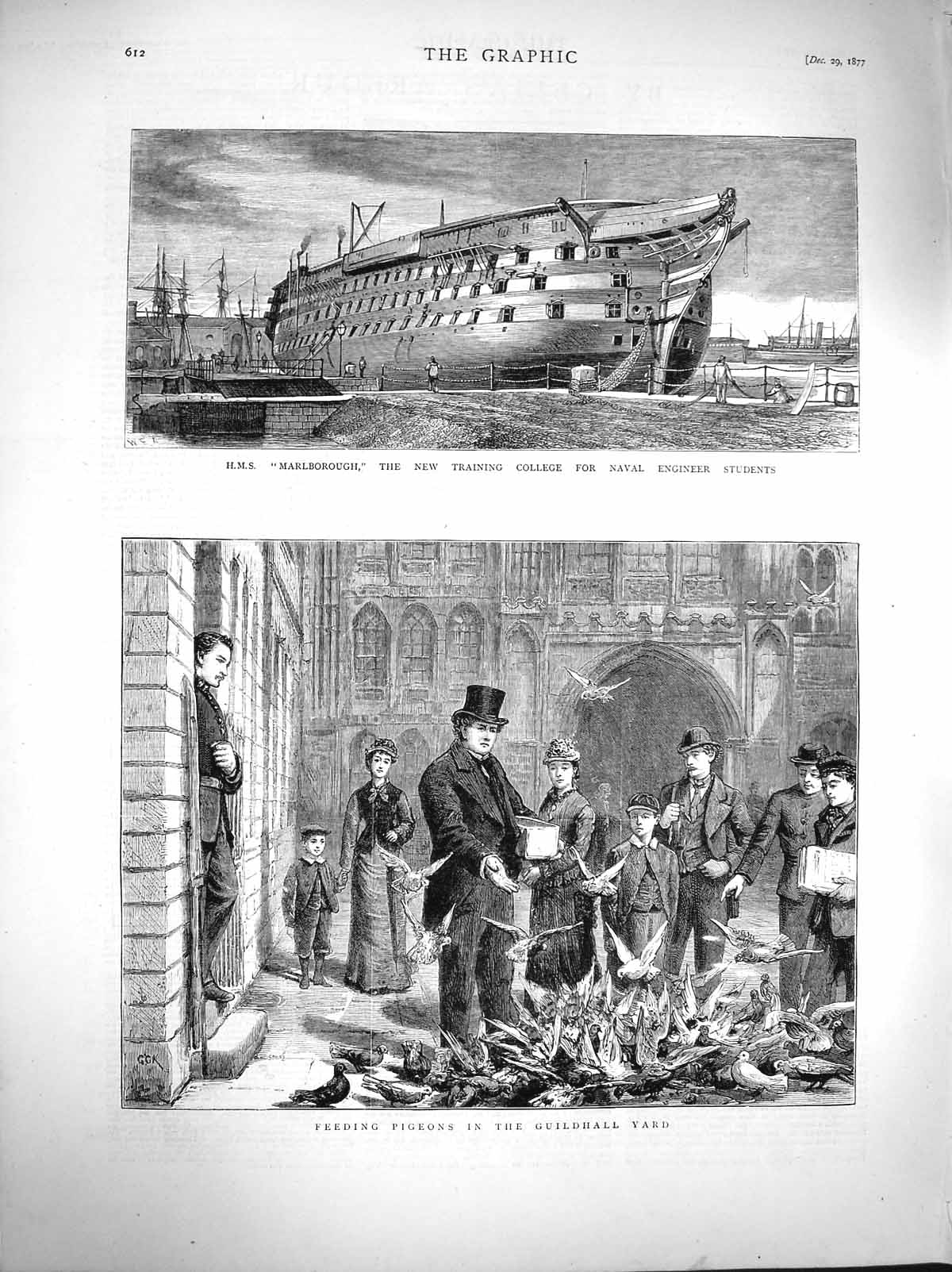 [Print 1877 Ship Marlborough Training College Navy Guildhall 612M116 Old Original]